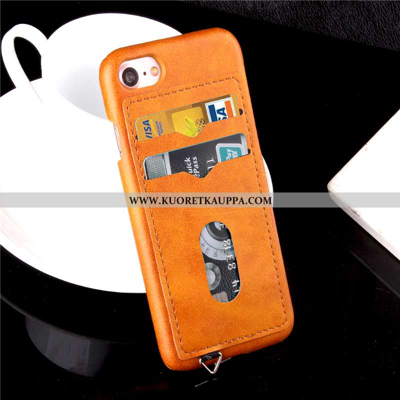 Kuori iPhone 7, Kuoret iPhone 7, Kotelo iPhone 7 Nahkakuori Suojaus Murtumaton Oranssi