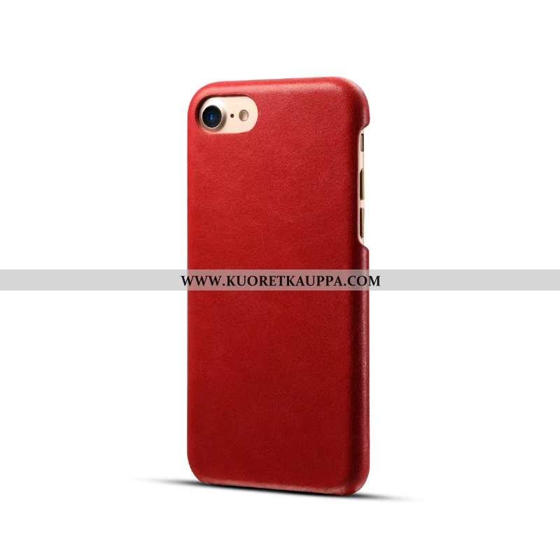 Kuori iPhone 8, Kuoret iPhone 8, Kotelo iPhone 8 Aito Nahka Suojaus Uusi Murtumaton Punainen