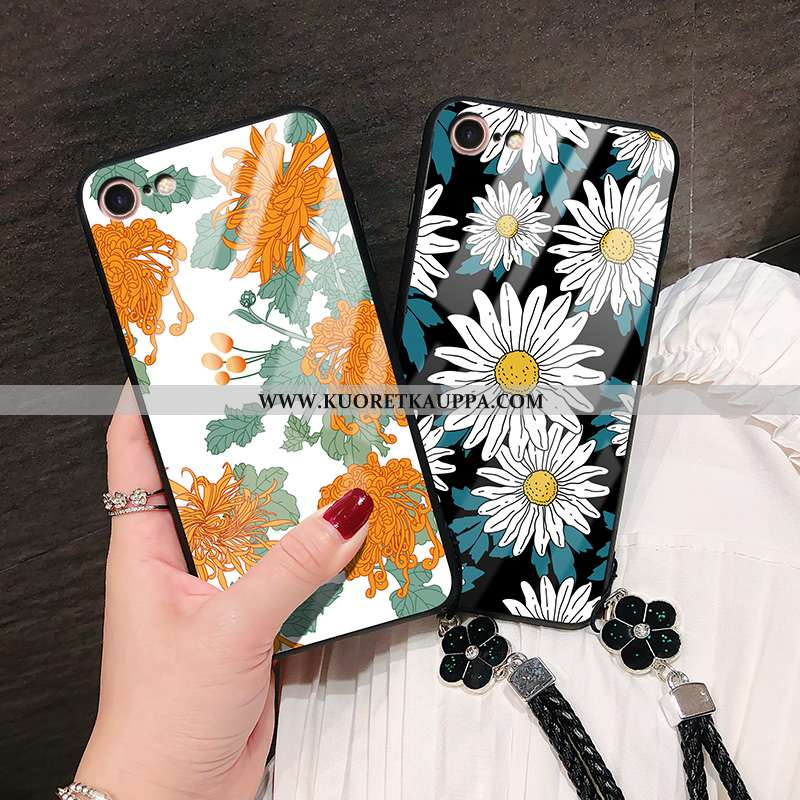Kuori iPhone 8, Kuoret iPhone 8, Kotelo iPhone 8 Lasi Tila Murtumaton Silikoni Auringonkukka Oranssi