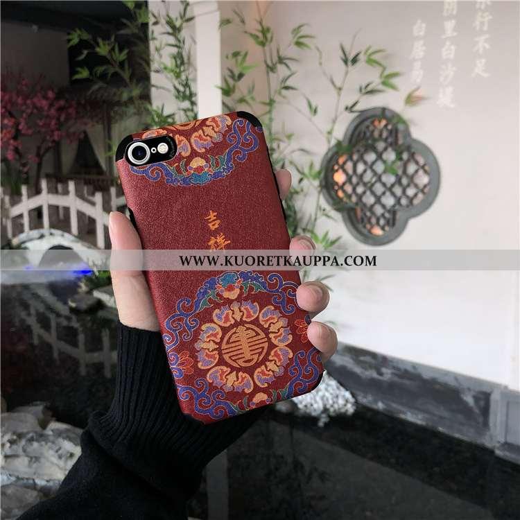 Kuori iPhone 8, Kuoret iPhone 8, Kotelo iPhone 8 Silikoni Suojaus Kiinalainen Tyyli Kukkakuvio Punai
