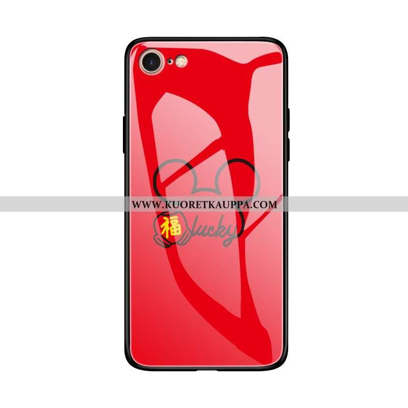 Kuori iPhone 8, Kuoret iPhone 8, Kotelo iPhone 8 Silikoni Suojaus Murtumaton Lasi Punainen