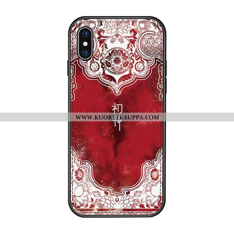 Kuori iPhone X, Kuoret iPhone X, Kotelo iPhone X Kukkakuvio Suuntaus Murtumaton Nahka Punainen