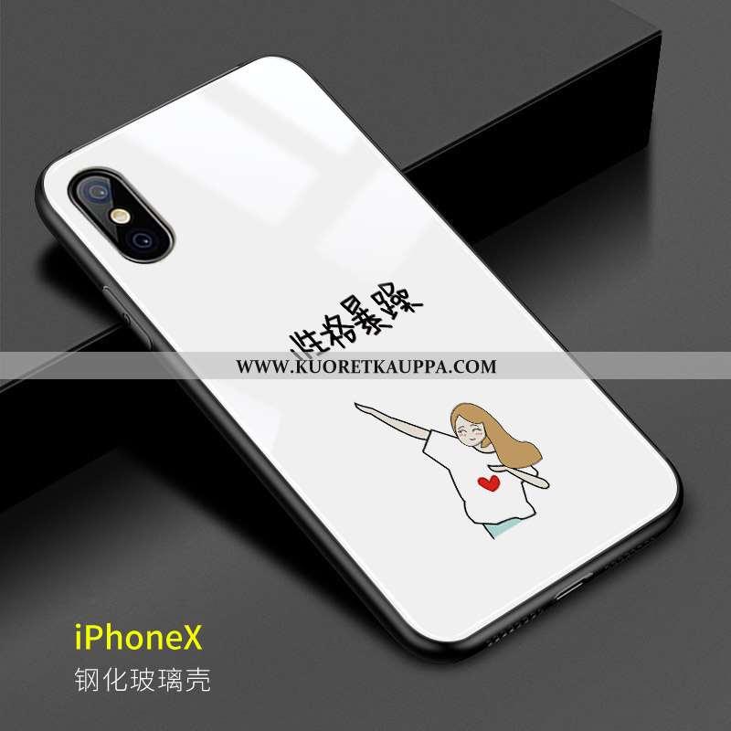 Kuori iPhone X, Kuoret iPhone X, Kotelo iPhone X Luova Lasi Persoonallisuus Kova Valkoinen