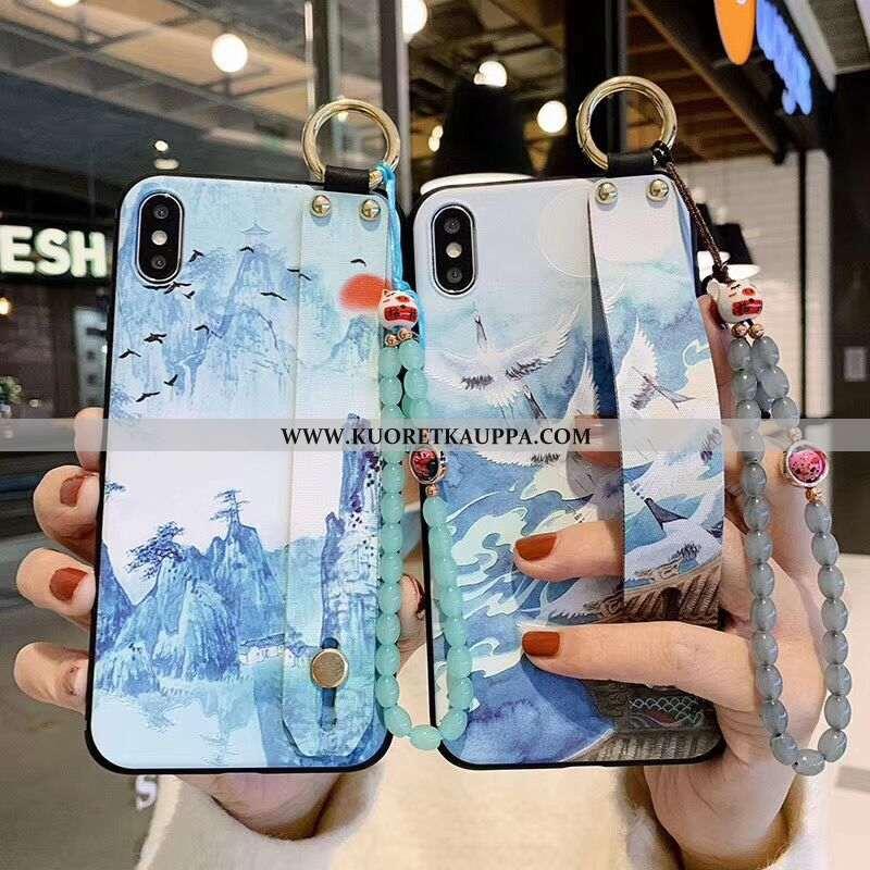 Kuori iPhone X, Kuoret iPhone X, Kotelo iPhone X Pehmeä Neste Silikoni Sininen Vuosikerta Kohokuvioi