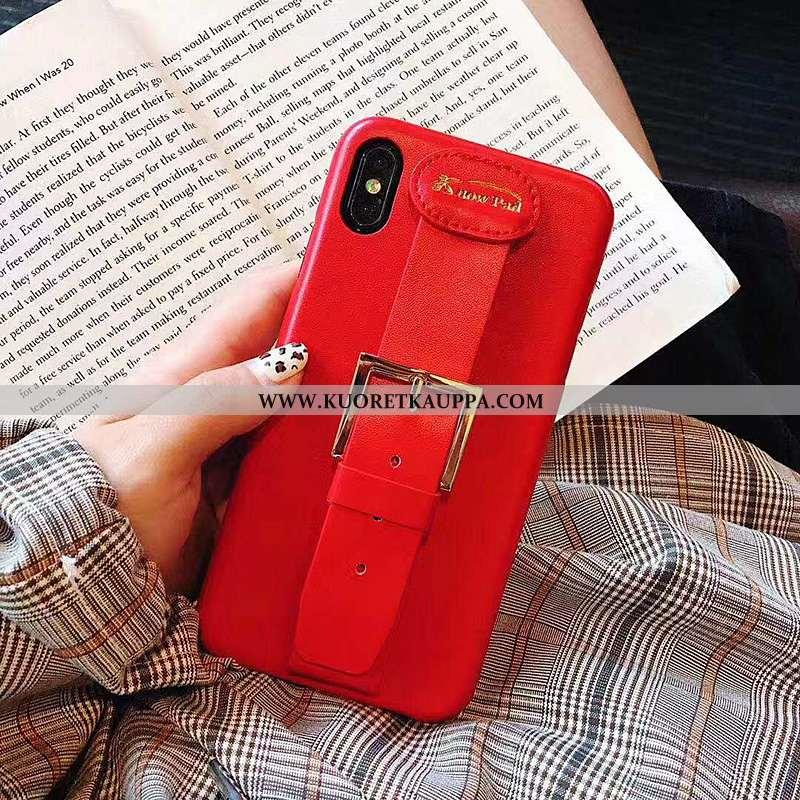 Kuori iPhone X, Kuoret iPhone X, Kotelo iPhone X Suojaus Nahkakuori Murtumaton Punainen Tyylikäs