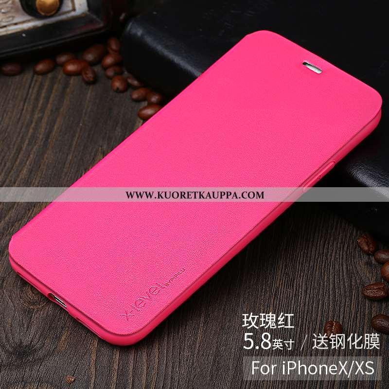 Kuori iPhone X, Kuoret iPhone X, Kotelo iPhone X Ultra Valo Nahkakuori Luova Pinkki