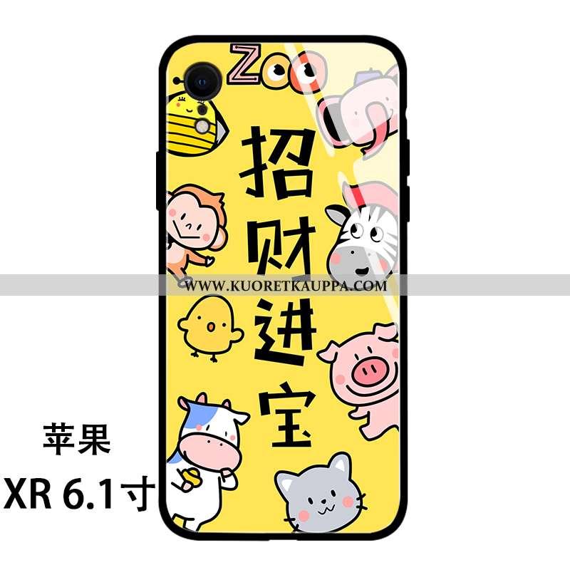Kuori iPhone Xr, Kuoret iPhone Xr, Kotelo iPhone Xr Lasi Persoonallisuus Sarjakuva Suojaus Keltaiset