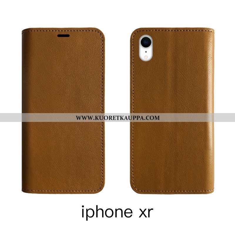 Kuori iPhone Xr, Kuoret iPhone Xr, Kotelo iPhone Xr Nahkakuori Aito Nahka Suojaus Ruskea