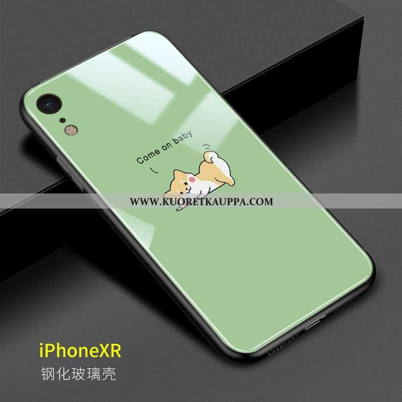 Kuori iPhone Xr, Kuoret iPhone Xr, Kotelo iPhone Xr Suojaus Lasi Ihana Pehmeä Neste Sarjakuva Vihreä