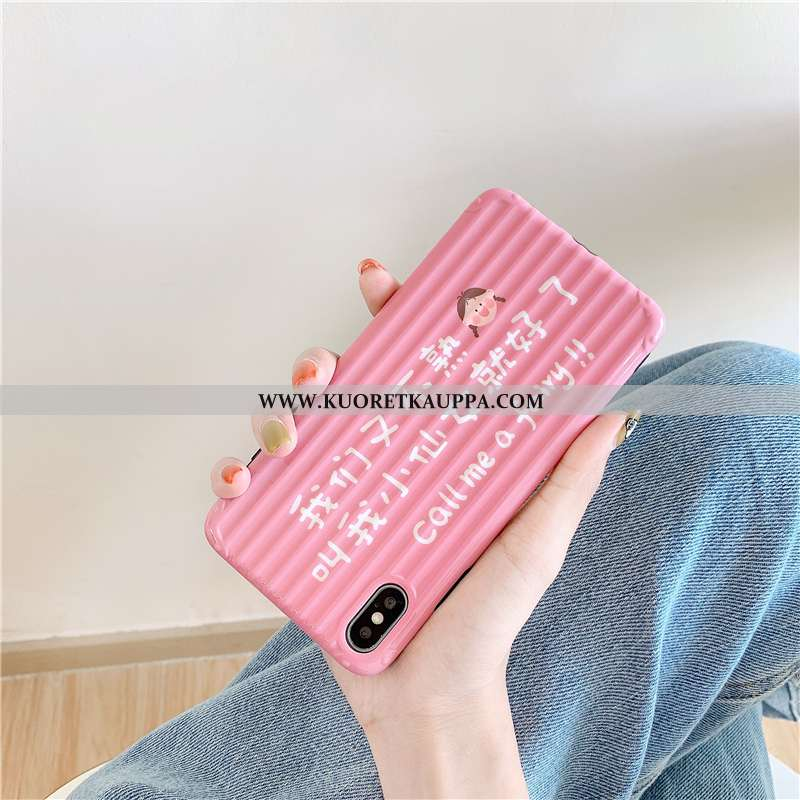 Kuori iPhone Xs, Kuoret iPhone Xs, Kotelo iPhone Xs Persoonallisuus Luova Pehmeä Neste Pinkki