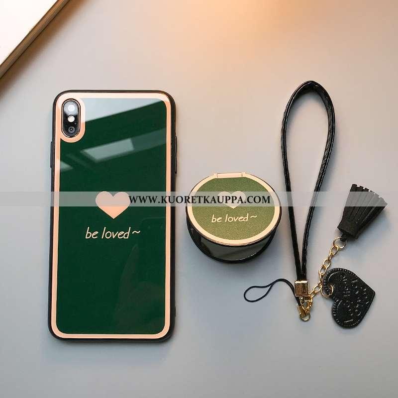 Kuori iPhone Xs, Kuoret iPhone Xs, Kotelo iPhone Xs Silikoni Lasi Suuntaus Tuki Vihreä