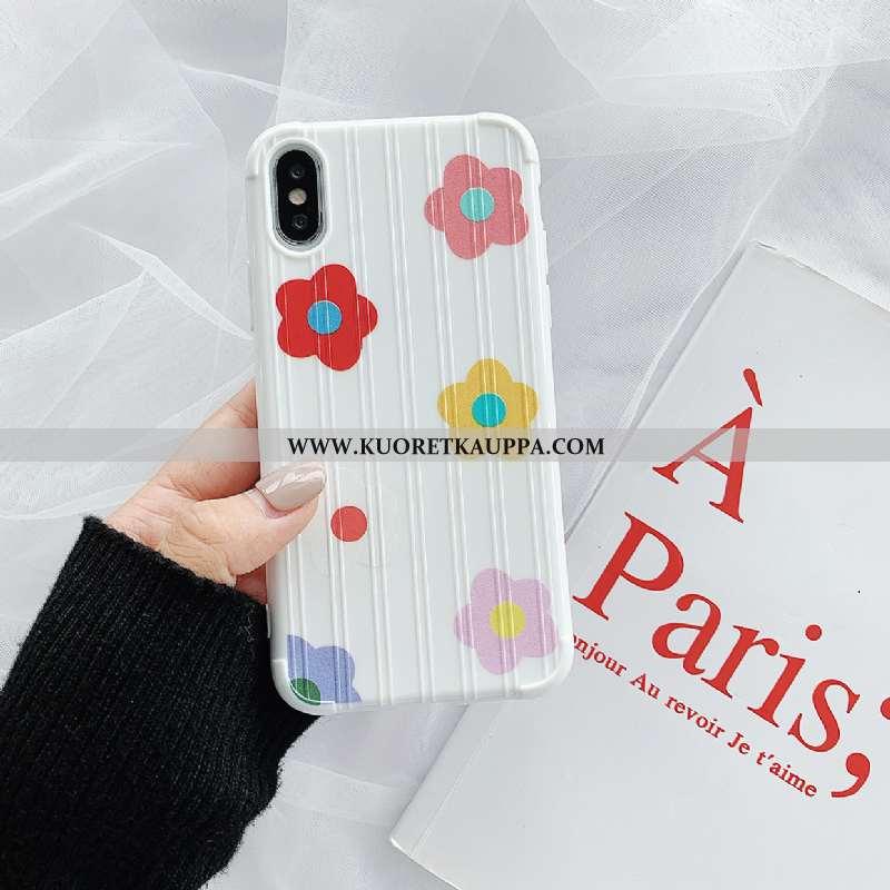 Kuori iPhone Xs, Kuoret iPhone Xs, Kotelo iPhone Xs Suojaus Silikoni Net Red Valkoinen Kukka Punaine