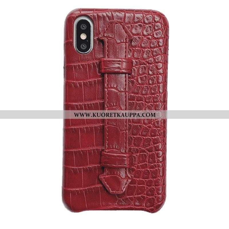 Kuori iPhone Xs, Kuoret iPhone Xs, Kotelo iPhone Xs Ultra Valo Krokotiili Tuki Ylellisyys Punainen