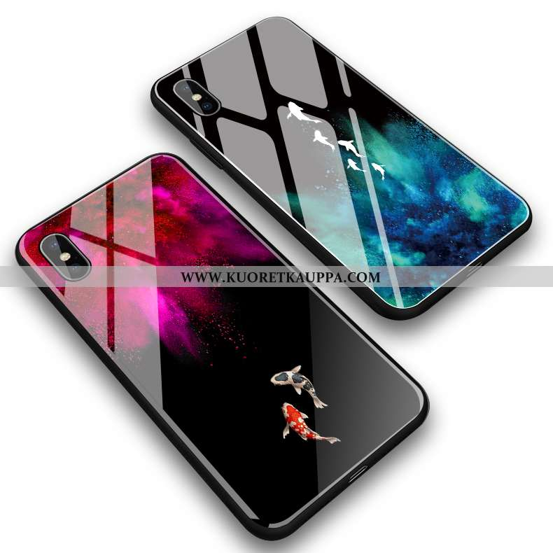 Kuori iPhone Xs Max, Kuoret iPhone Xs Max, Kotelo iPhone Xs Max Lasi Luova Punainen Yksinkertainen K