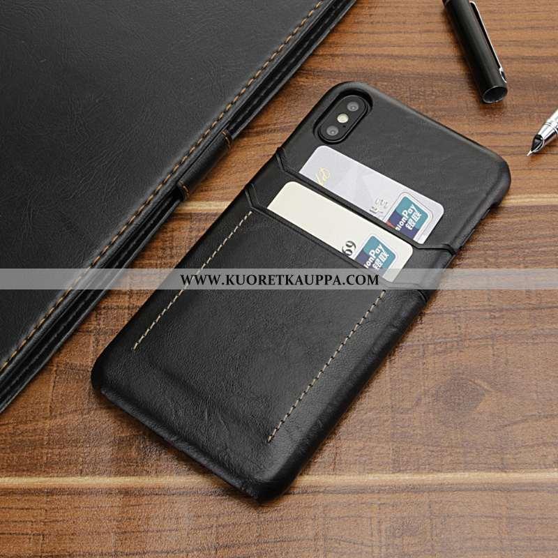 Kuori iPhone Xs Max, Kuoret iPhone Xs Max, Kotelo iPhone Xs Max Nahka Suojaus Pankkikortti Mustat
