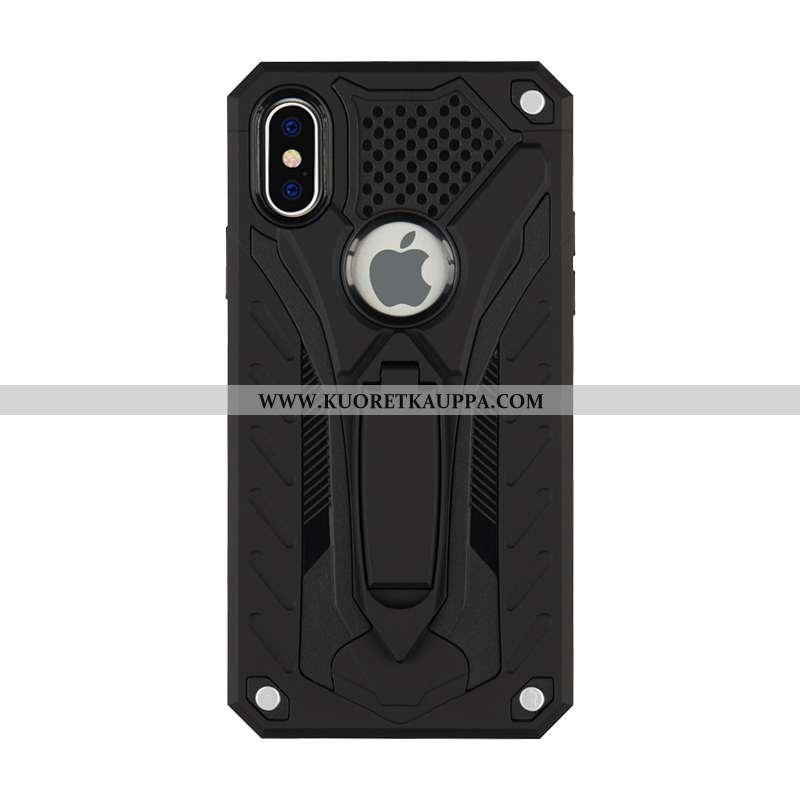 Kuori iPhone Xs Max, Kuoret iPhone Xs Max, Kotelo iPhone Xs Max Suojaus Murtumaton Tuki Mustat