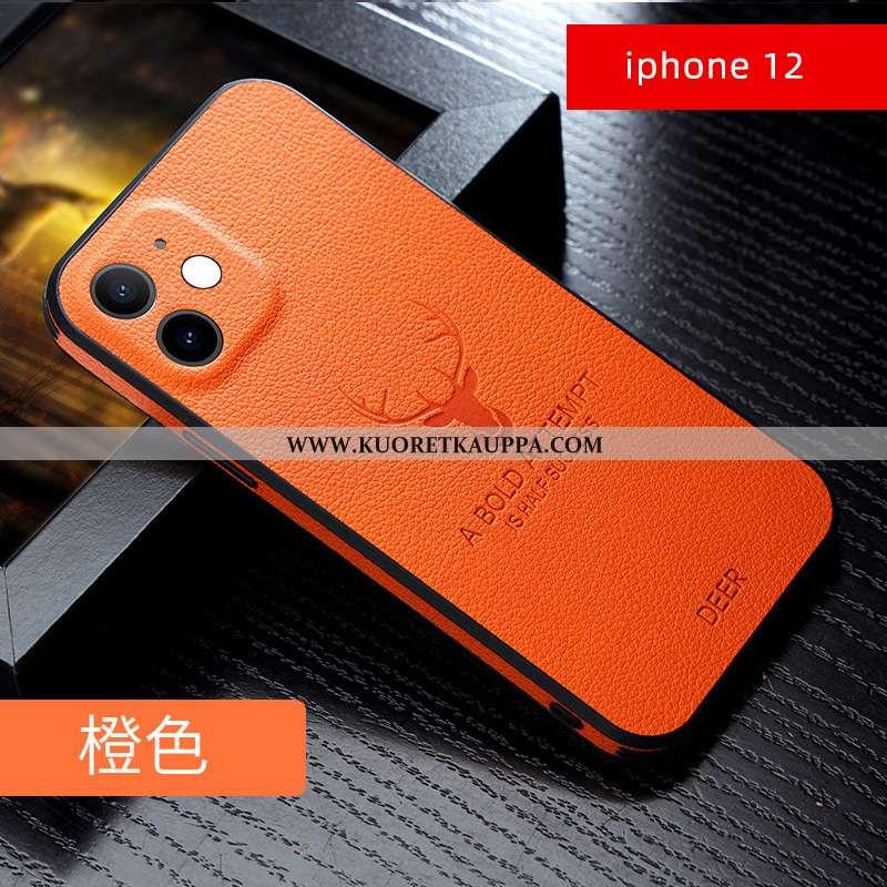 Kuori iPhone 12, Kuoret iPhone 12, Kotelo iPhone 12 Silikoni Persoonallisuus Valo Ultra Uusi Oranssi